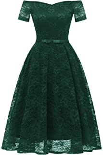 b88279dd723 Gooclo Women s Vintage Lace Short Sleeves Bridesmaid Cocktail Party Prom  Short Dresses
