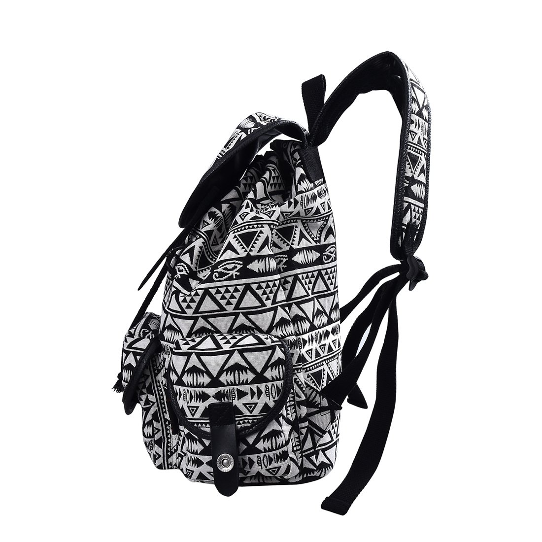 DGY Black Canvas Floral Printed Backpack 3 Pieces School Rucksack for Teen Girls Geometric3 Pcs