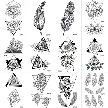 Amazon Com 12 Pieces Lot Women Geometric Rose Flower Triangle
