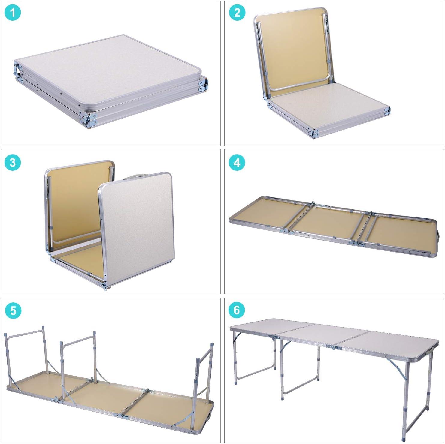 Sunflo Table Pliante 1,2 m Portable r/églable en Alliage daluminium Int/érieur ext/érieur Table de Salle /à Manger Portable Poign/ée Pique-Nique Camping Barbecue