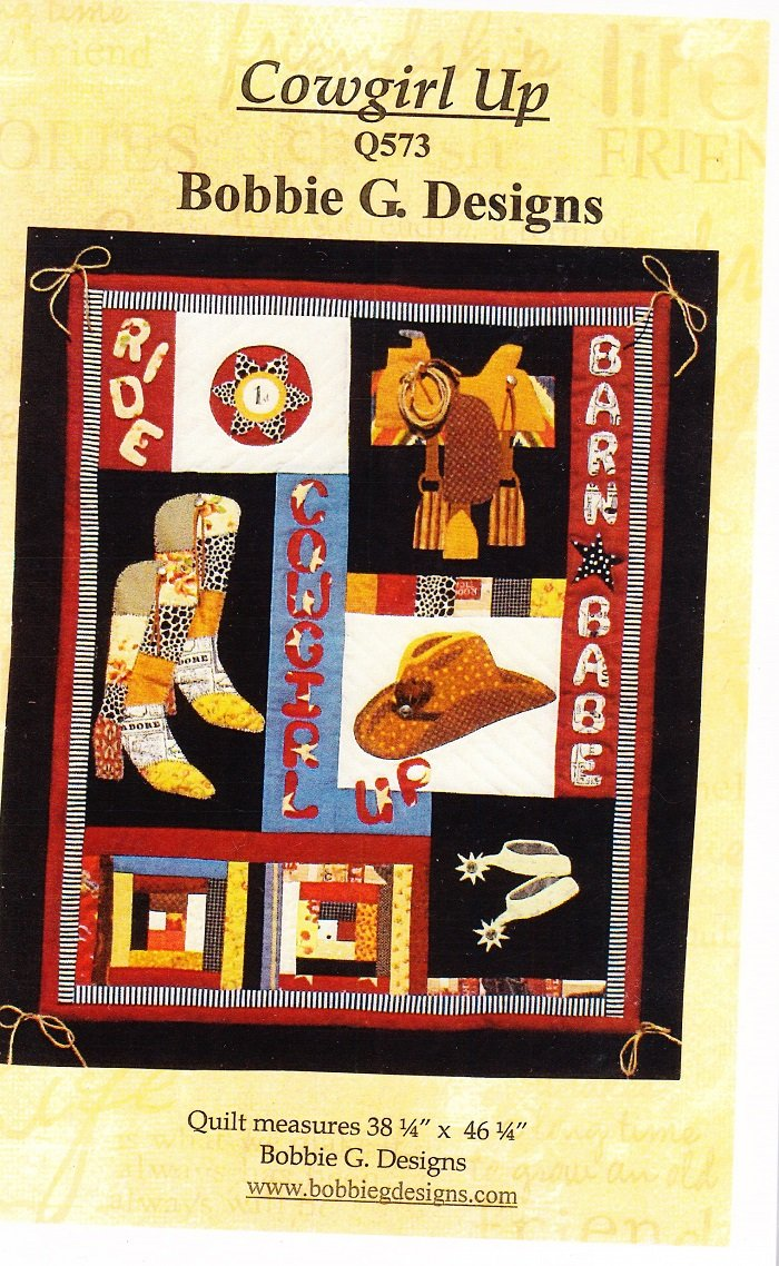 Cowgirl Up Quilt Pattern by Bobbie G. Designs 38.25 x 46.25 Applique by Bobbie G Designs   B00T769072