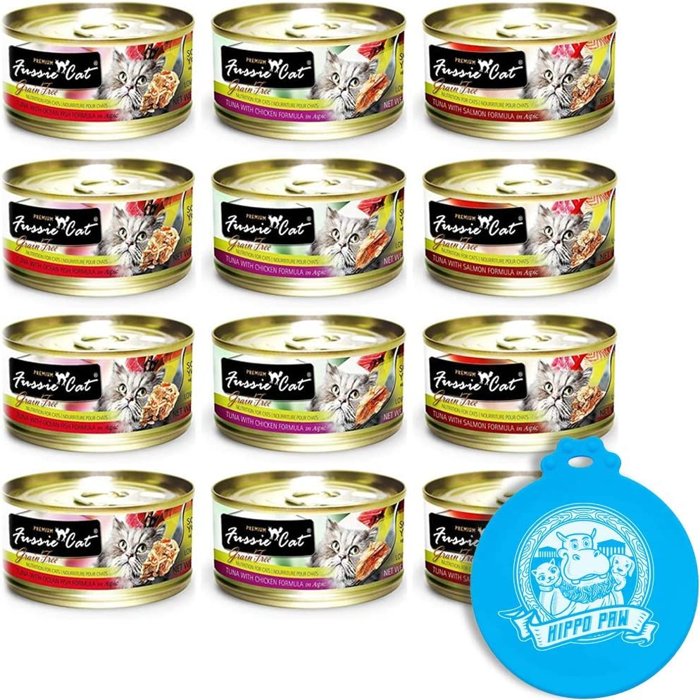 Fussie Cat Premium Can Wet Food Variety 12 Pack (4) Tuna with Chicken, (4) Tuna with Salmon, (4) Tuna with Ocean Fish 2.8 oz Cans with Hippo Paw Silicone Universal Can Cover Assorted Color and Design