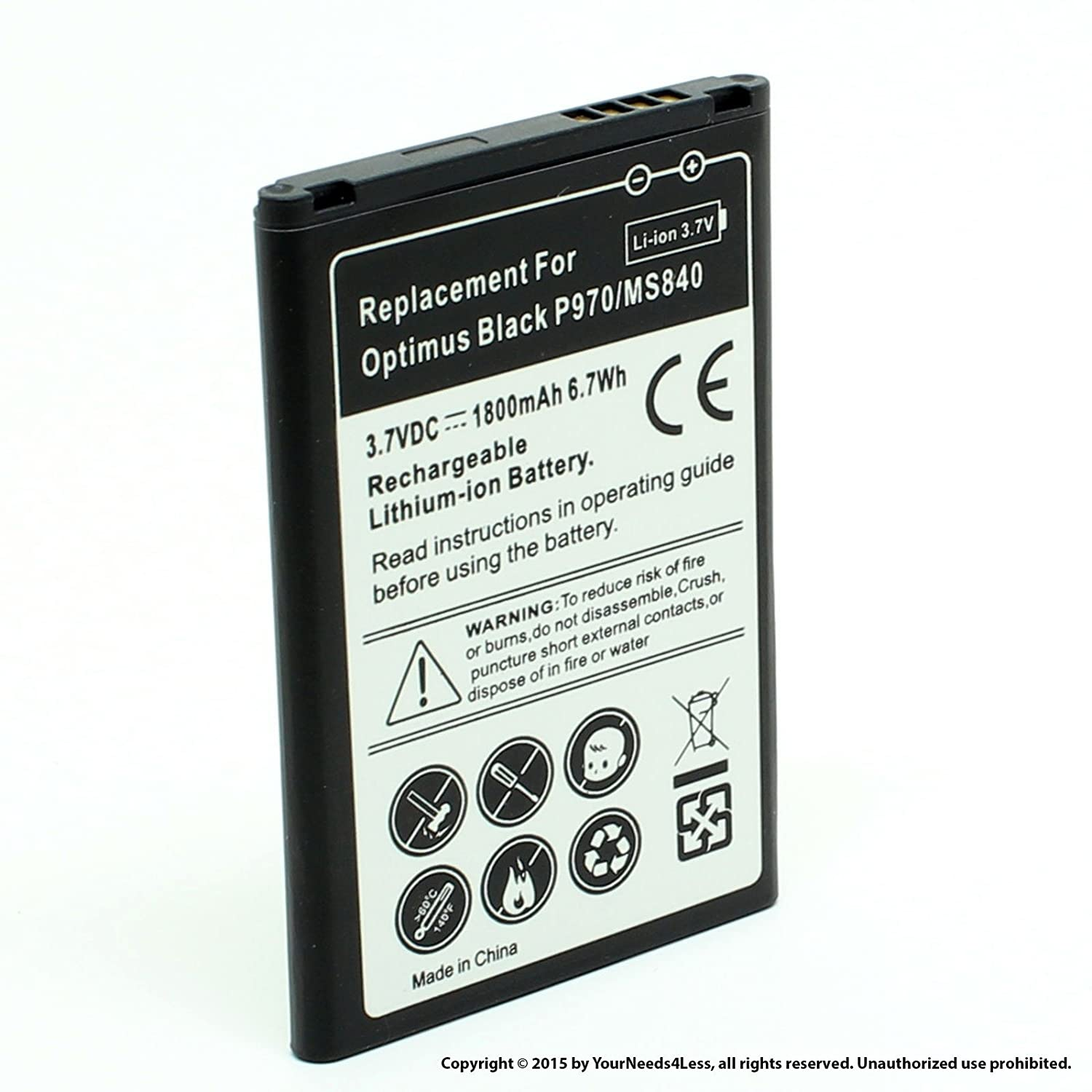 Amazon.com: YN4L 1800mAh Replacement Battery for LG Marquee LS855 ; P970 ;  Optimus Black ; MS840: Cell Phones & Accessories