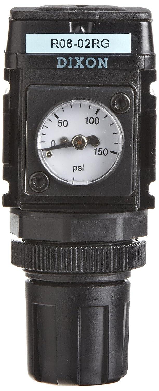 44 SCFM Flow Dixon R08-02RG Wilkerson Miniature Regulator with Gauge 300 psig Pressure 1//4 Size