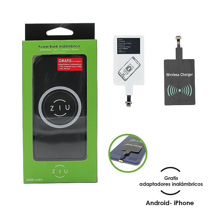 Ziu Smart Items Power Bank Qi - Cargador inalámbrico (6000 mAh, Compatible con Todos los Smartphones, Incluye Adaptador Wireless Android y Apple iPhone) ...