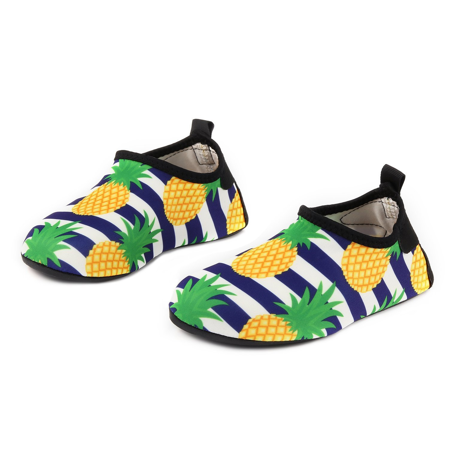 Adorllya Water Shoes Aqua Socks Water Socks Swim Shoes for Kids Toddlers Boys Girls,Stripe-pineapple,11.5-12.5 Little kid, Asian  (Size 28/29)