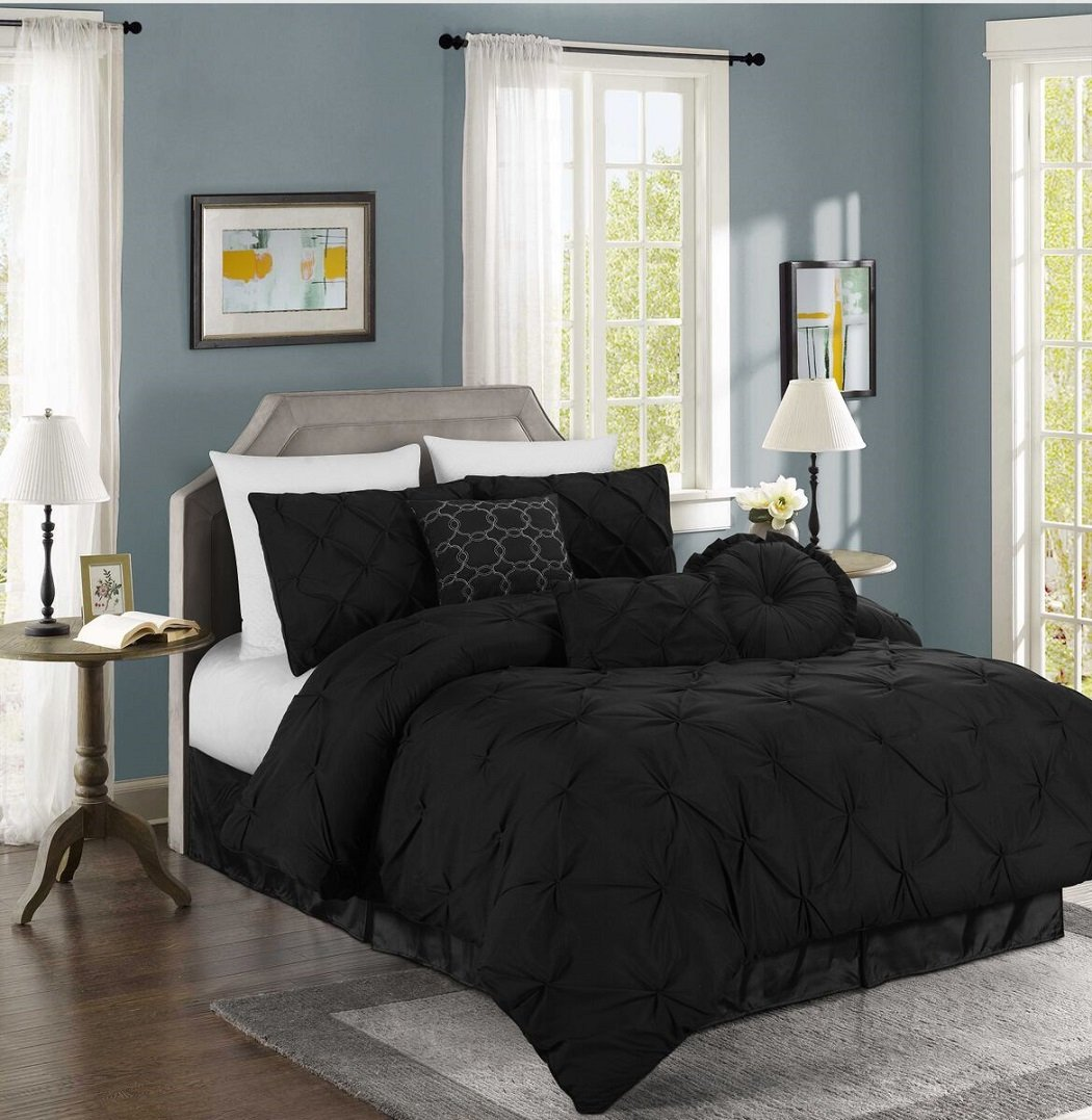 Chezmoi Collection Sydney 7-piece Pintuck Bedding Comforter Set