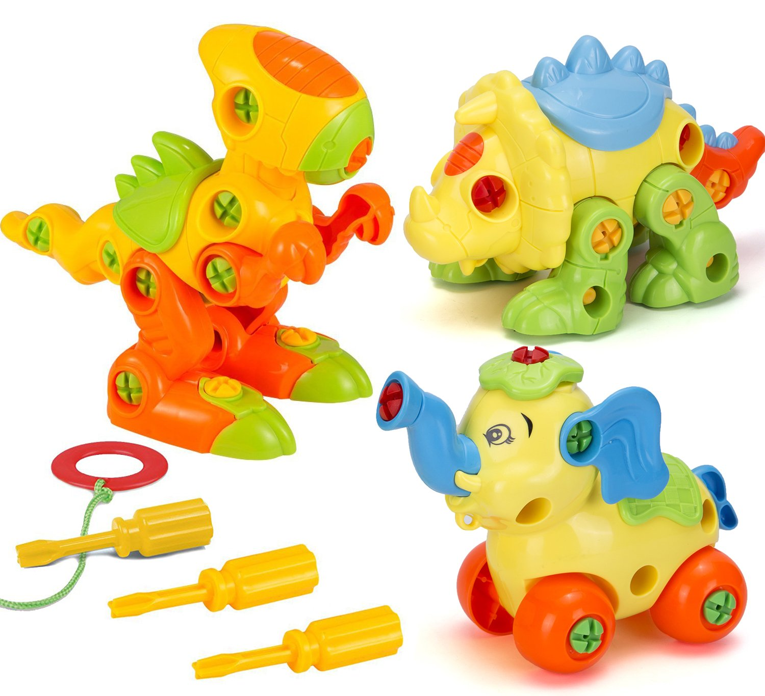 Kimicare Take Apart Dinosaur Toy Set with Screwdriver Tools, STEM Construction Engineering Building Playset Learning Toys for Boys Girls Gift, 3 Pack