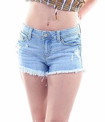 1c20f5669a02 Eunina Women's Stretch Low Rise Cut Off Denim Short Pants at Amazon ...