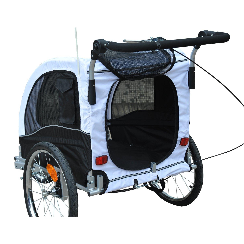 Aosom 2 in 1 pet dog bike bicycle trailer stroller jogger w suspension black white amazon ca patio lawn garden