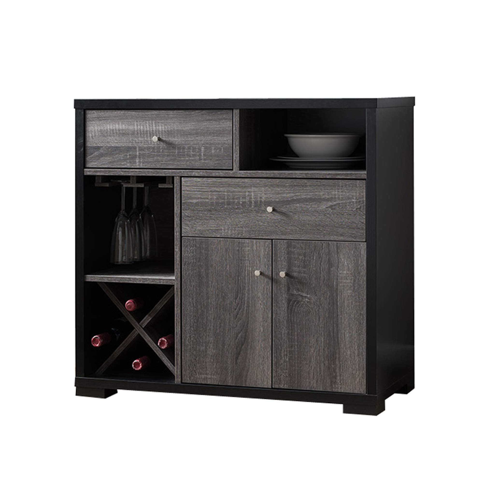 Benjara Benzara BM179615 Dual-Tone Wooden Wine Cabinet, Black and Gray by Benjara