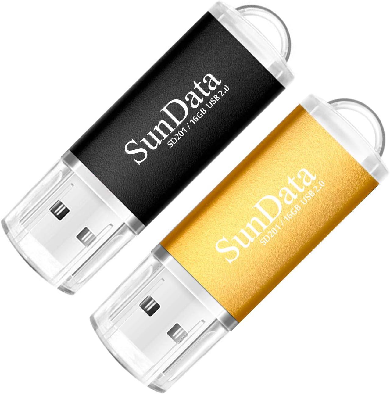 SunData Memorias USB 2 Piezas 16GB PenDrives 16GB Unidad Flash USB2.0 Pen Drive con Luz LED (2 Colores: Negro Oro)