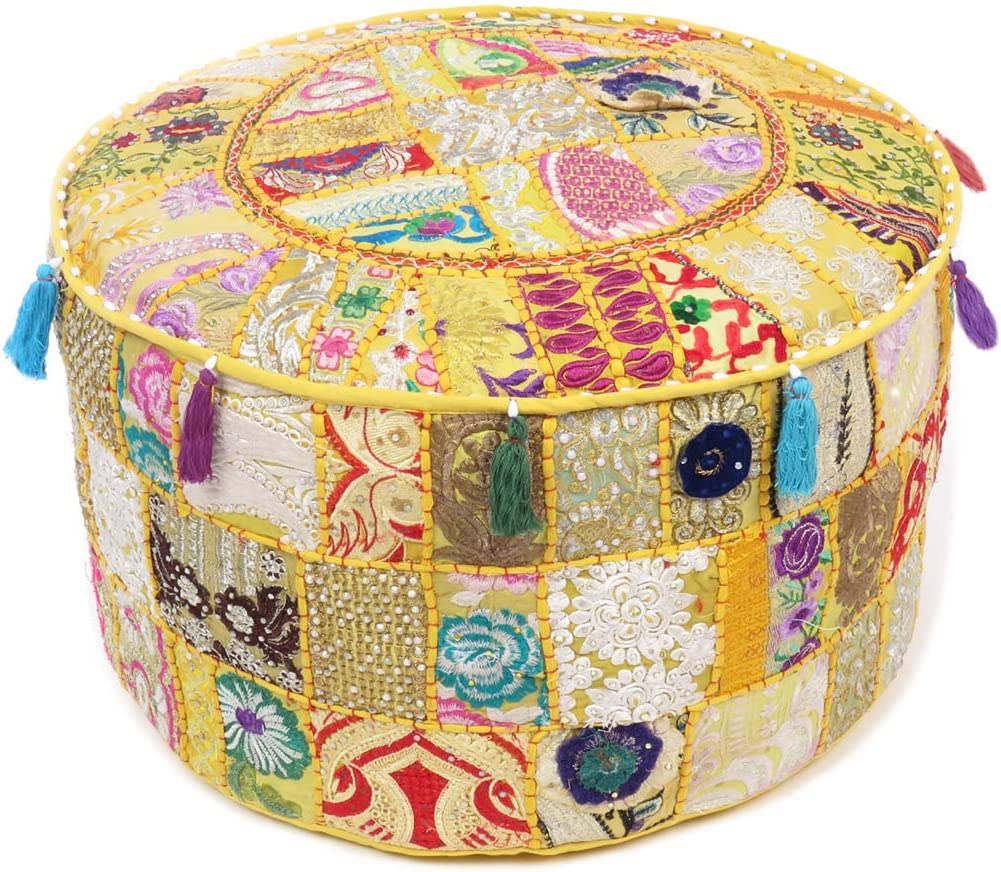 Eyes of India 24 X 10 Large Green Brocade Round Ottoman Pouf Pouffe Cover Floor Seating Indian Bohemian Boho