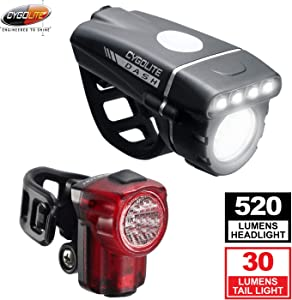 Cygolite Dash 520 Lumen Headlight & Hotshot Micro 30 Tail Light – Modes for Night & Day Use– Compact & Sleek– IP64 Water Resistant– Sturdy Flexible Mounts- USB Rechargeable Bicycle Light Combo Set