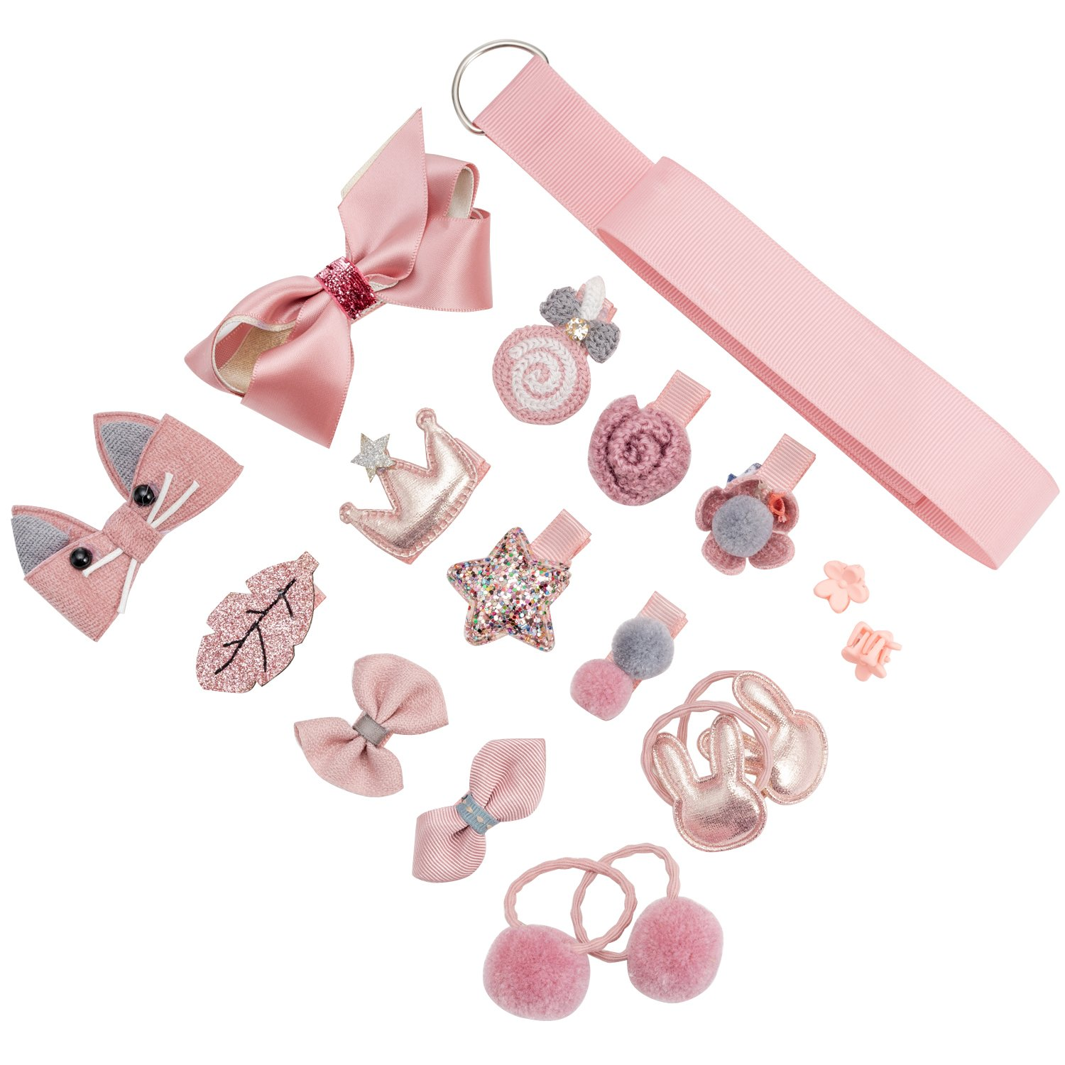 18pcs Toddler Girl Hair Clips Baby Kids Bowknot Barrette Hair Band Birthday Gift (Deep Pink) by handrong (Image #2)