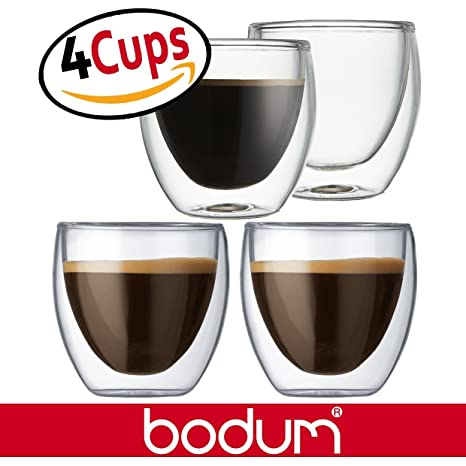 GlassExtra Glasses Bodum Of Double Pavina Clearset Mugs 4 5 2 Ounce SmallEspresso Wall Cups yONvm80nw