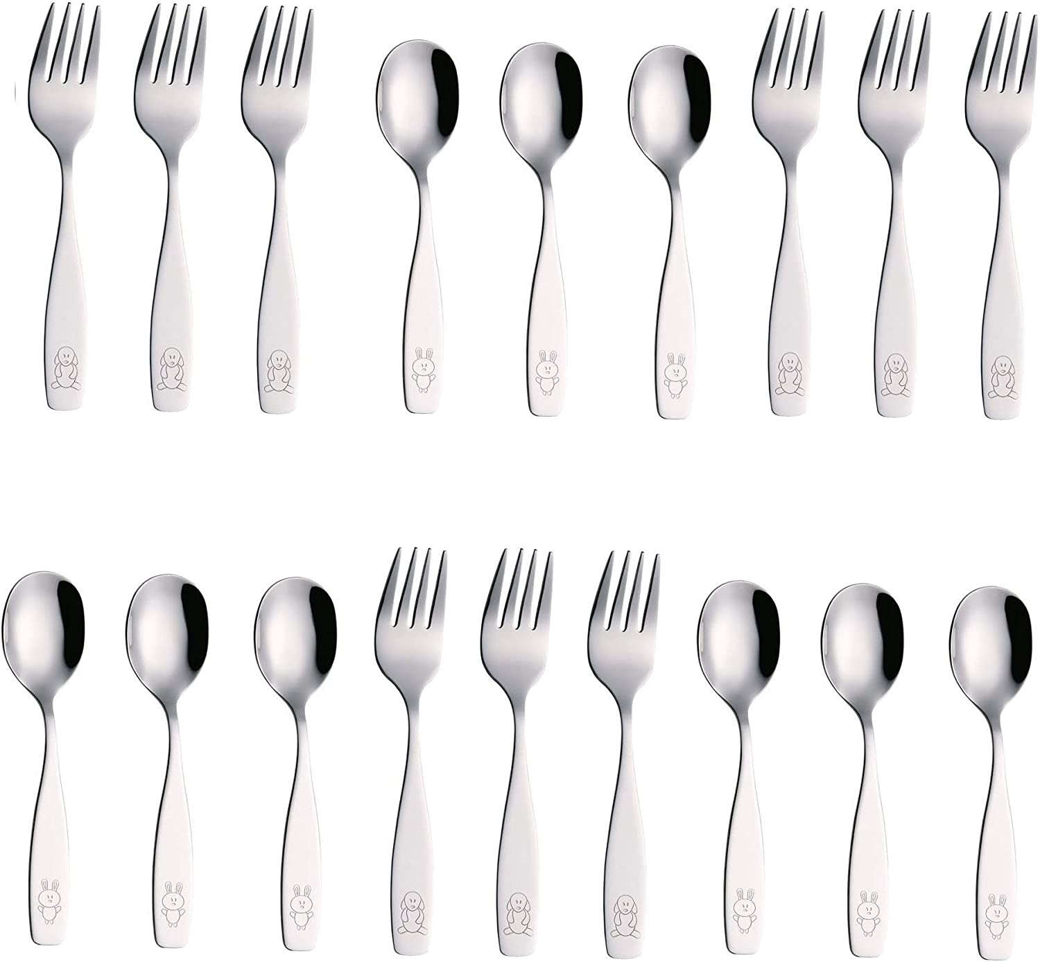 9 x Children Safe Forks Safe Toddler Utensils 9 x Children Tablespoons Exzact Stainless Steel 18 Pieces Childrens Flatware//Kids Silverware//Cutlery Set Engraved Dog Bunny