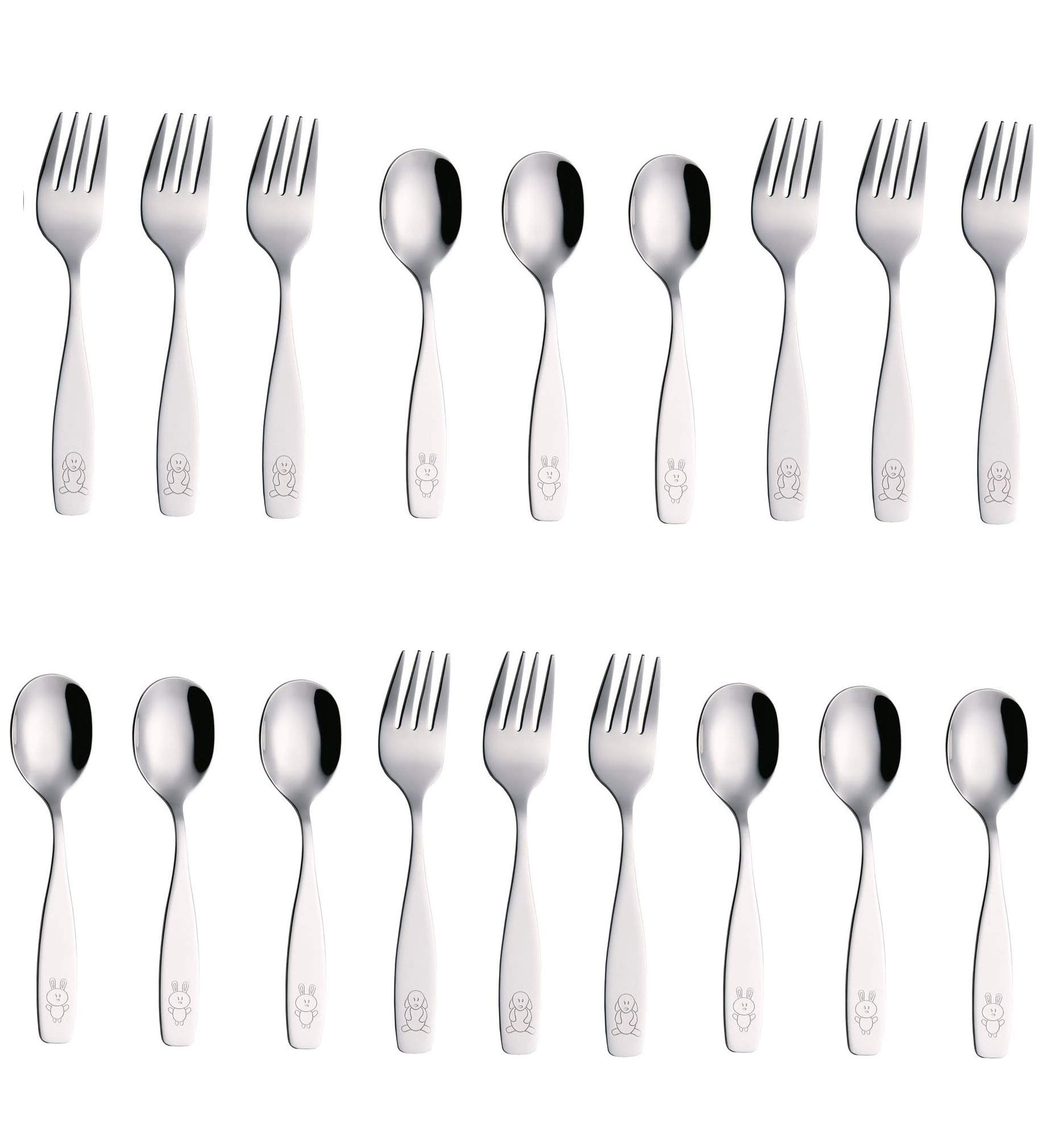 Exzact Stainless Steel 18 Pieces Childrens Flatware/Kids Silverware/Cutlery Set - 9 x Children Forks, 9 x Children Dinner Spoons - Safe Toddler Utensils (Engraved Dog Cat Bunny)(WF850-S18FS) by Exzact