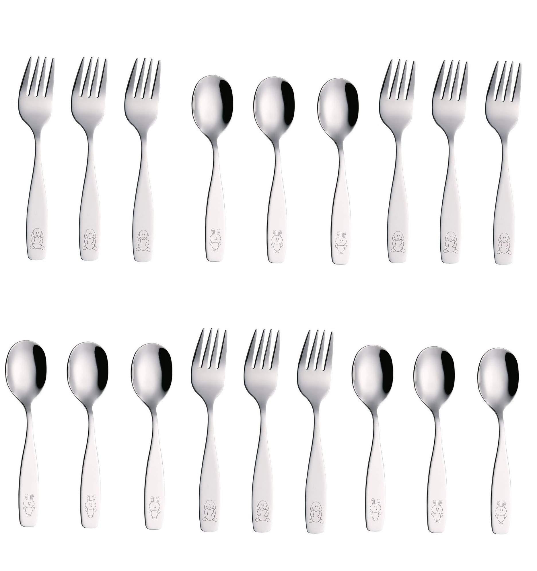 Exzact Stainless Steel 18 Pieces Childrens Flatware/Kids Silverware/Cutlery Set - 9 x Children Forks, 9 x Children Dinner Spoons - Safe Toddler Utensils (Engraved Dog Cat Bunny)(WF850-S18FS)