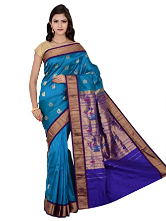 b8ef6996acb861 Amazon.com: Indian Silks Peacock Design Paithani Handloom Pure Silk Saree,  With Unstitched Blouse Piece (Blue): Clothing