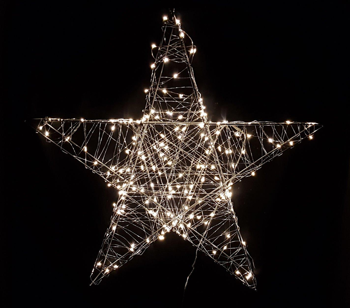 38x38 cm Deko Weihnachts Stern mit 80 warmwei/ßen LEDs Weihnachtsdeko Innen Au/ßen zum Aufh/ängen