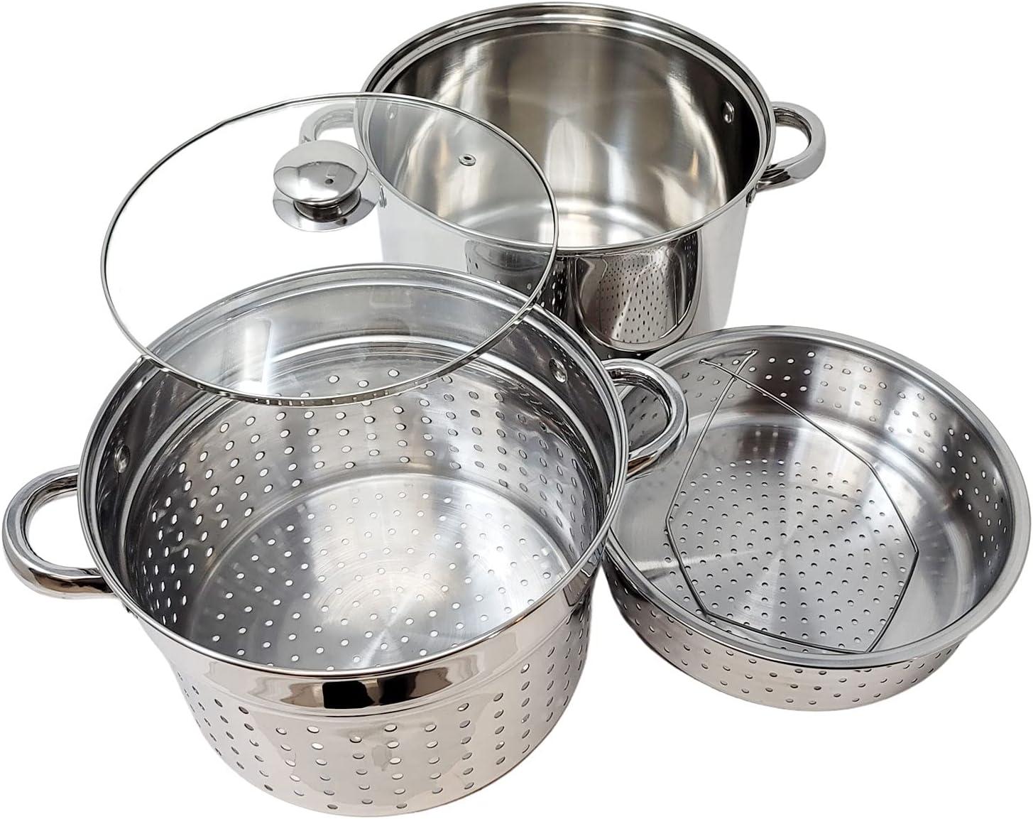 Professional Multi Purpose 4 in 1 Cooker 18/10 Stainless Steel Stock Pot, Vegetable Steamer Insert, Pasta Strainer Basket, Glass Lid Encapsulated Base - 20 Quart