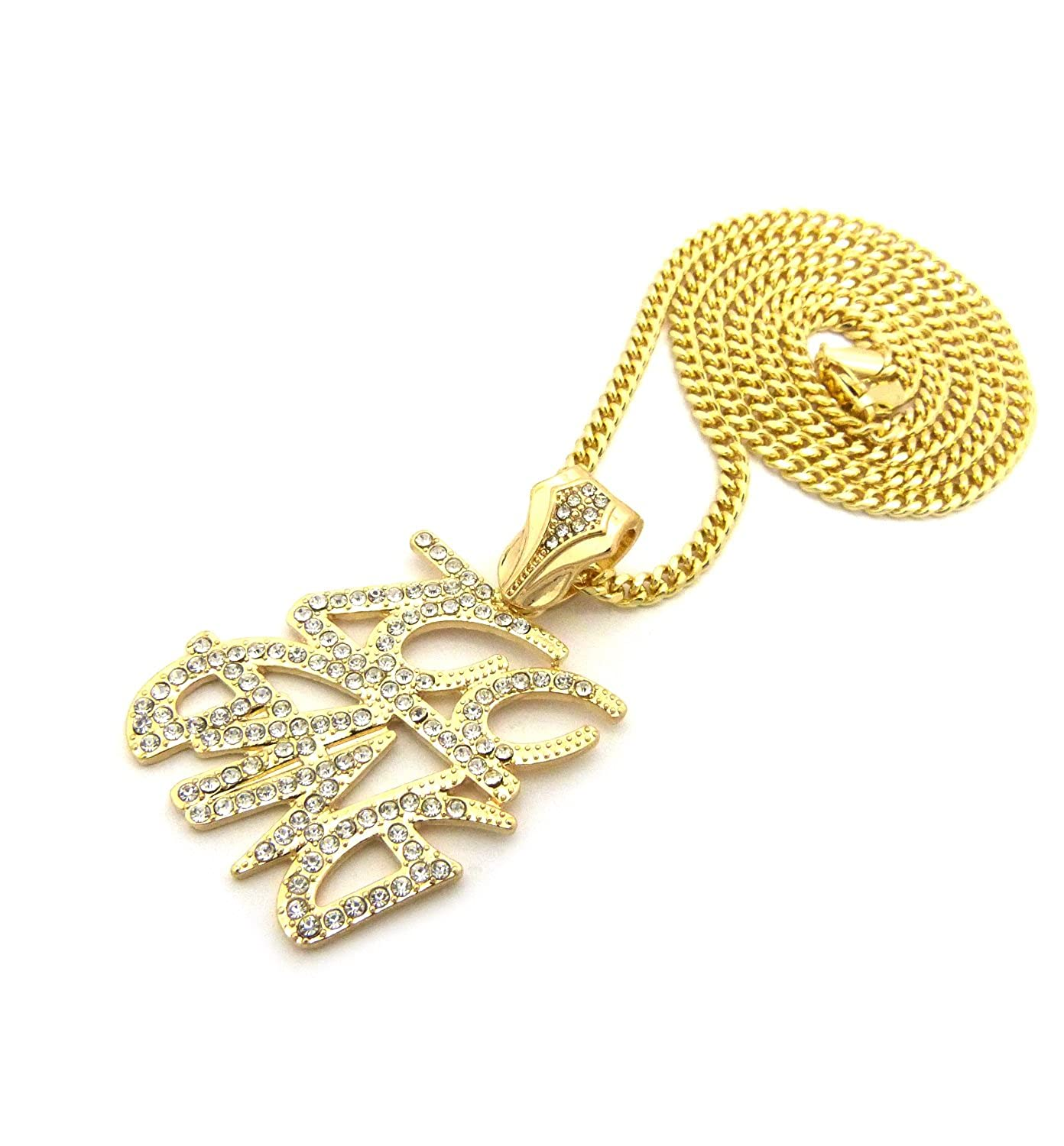 XZ133CCG NEW ICED OUT ZOO GANG PENDANT /&3mm//24 CUBAN CHAIN HIP HOP NECKLACE
