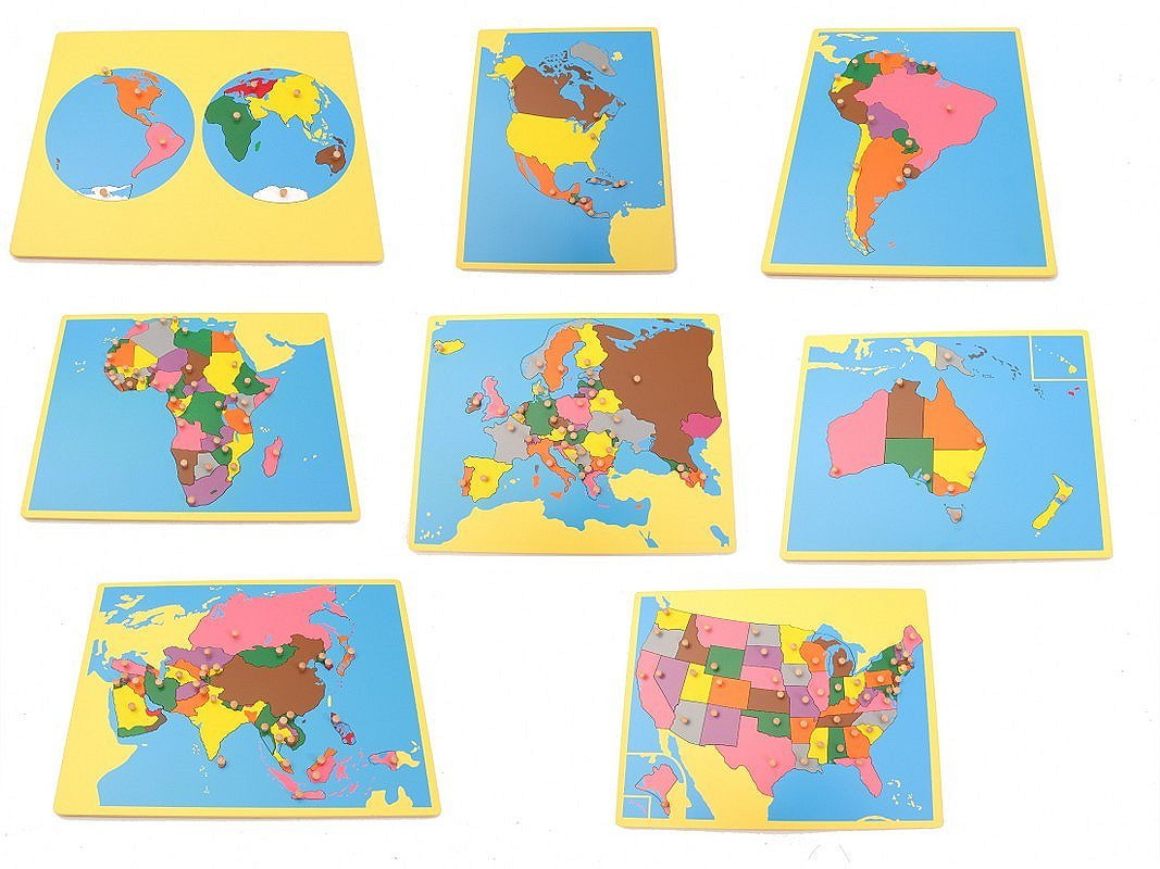pinkmontessori New Montessori Geography Package 1 - Set of 8 Small Board maps (with USA)