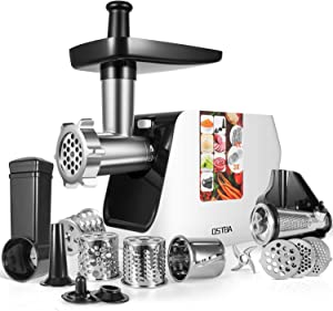 OSTBA Electric Meat Grinder 2000W MAX Meat Mincer with Sausage Stuffer, 5 in 1 Food Grinder with Sausage, Kubbe, Shredding, Slicing, Grinder, Tomato Juicing Kits, Overheat Protection