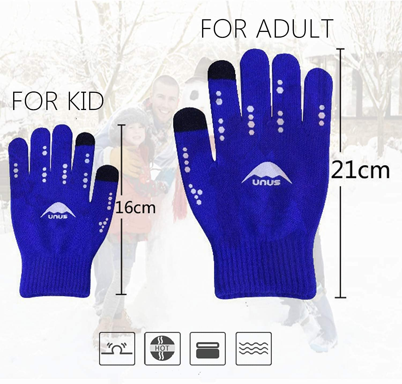 FINGER TEN Handschuhe Kinder Winter Jungen M/ädchen Strickhandschuhe Unisex Touchscreen Gloves Laufen Warm RadfahrenHandschuhe Sport Fahrrad Fu/ßball T/äglich Gr/ün Blau Hot Pink Schwarz Alter 5-12