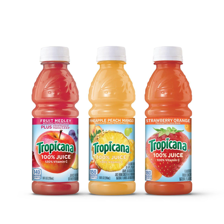 Tropicana 100% Juice 3-Flavor Fruit Blend Variety Pack, 10 Fl Oz, Bottles, (Pack of 24)