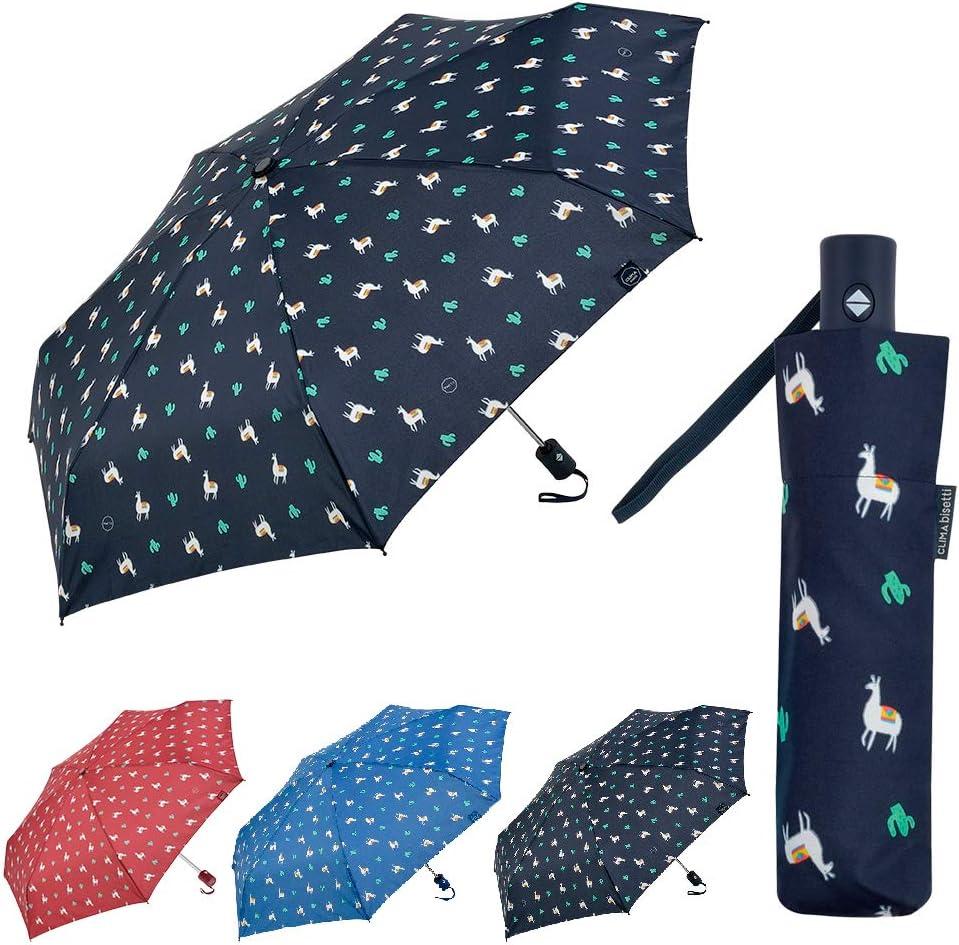 Clima Paraguas Plegable Autom/ático Hombre y Mujer Paraguas Antiviento Peque/ño y Compacto Ideal para Viajes Bisetti Azul Claro
