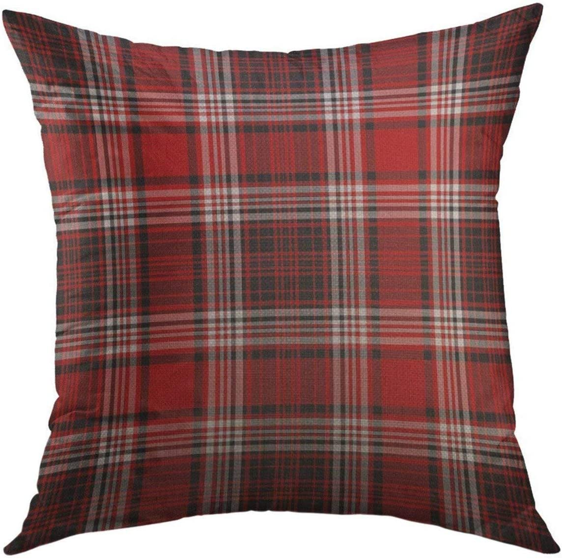 Mugod Decorative Throw Pillow Cover for Couch Sofa,Flannel Red White Black Plaid Christmas Masculine Home Decor Pillow case 18x18 Inch