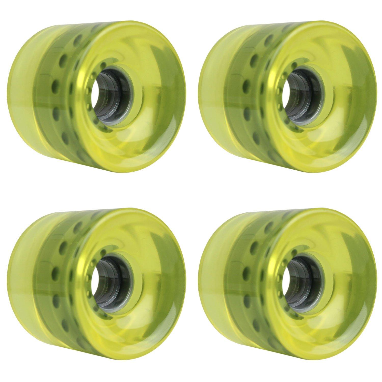 TGM Skateboards Longboard Cruiser Wheels Set 62mm x 51.5mm 83A 012 C Yellow Clear W-DW-62X515-83A-012YEL-GRY x4