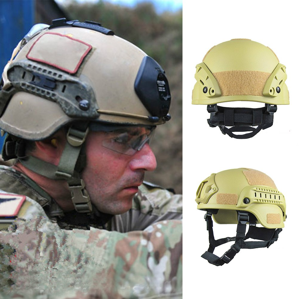 EUGNN Army Military Tactical Helmet Cover Airsoft Gear Paintball Wargame Fast Jumping Protective Adjustable Helmet Head Protector