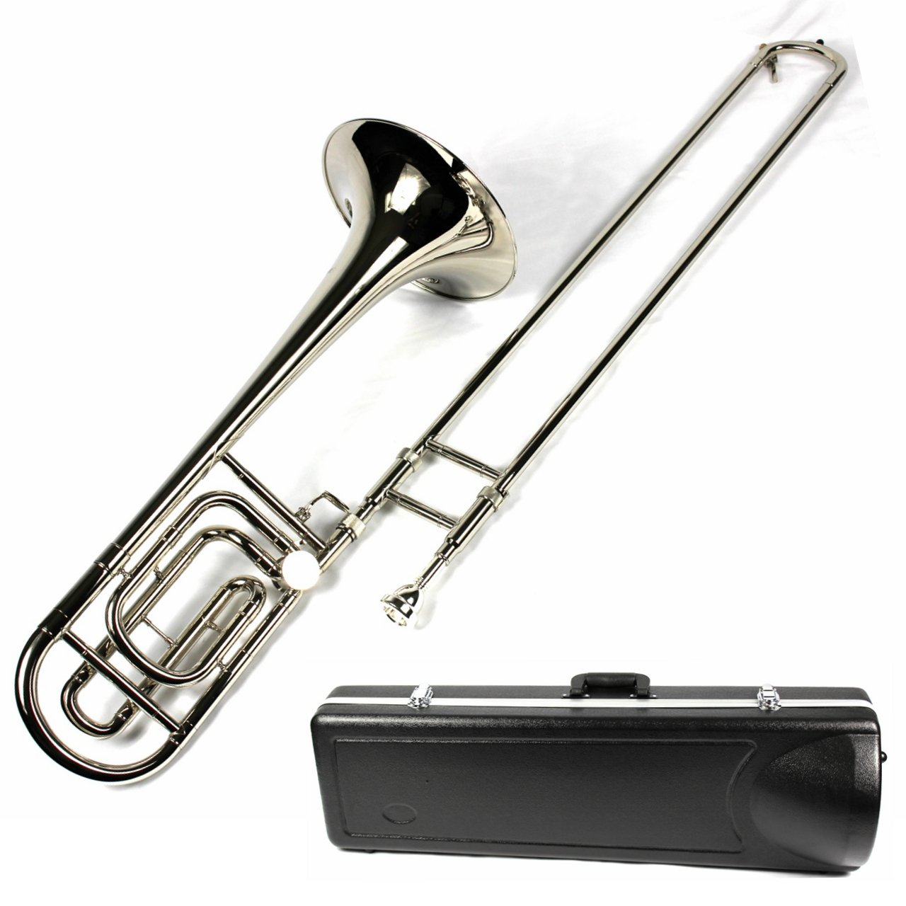 Brand New Bb/F Tenor Trombone w/ Case and Mouthpiece- Nickel Plated Finish by Moz