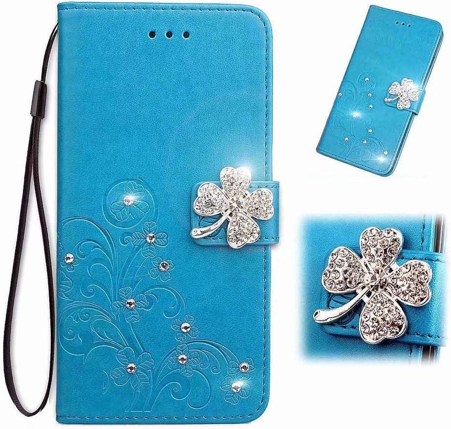 Funda de teléfono para Samsung Galaxy A02s, Bling Gems Diamond de piel sintética con tapa y cristales brillantes con cierre magnético de mariposa y flor, ranura para tarjetas, color azul