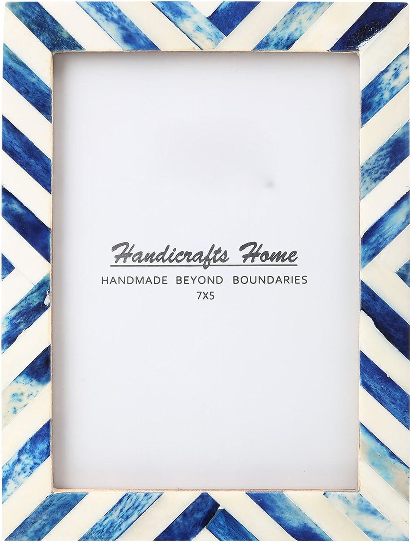 Amazon Com Handicrafts Home 5x7 Picture Photo Frame Chevron Herringbone Art Inspired Vintage Wall Décor Gift Frames 5x7 Blue Kitchen Dining