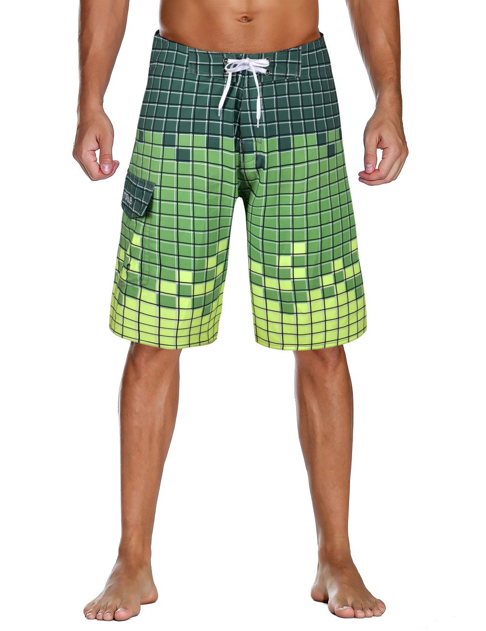 0e01080c9c Nonwe Men's Swimwear Grid Printed Quick Dry Board Shorts with Lining Green  40