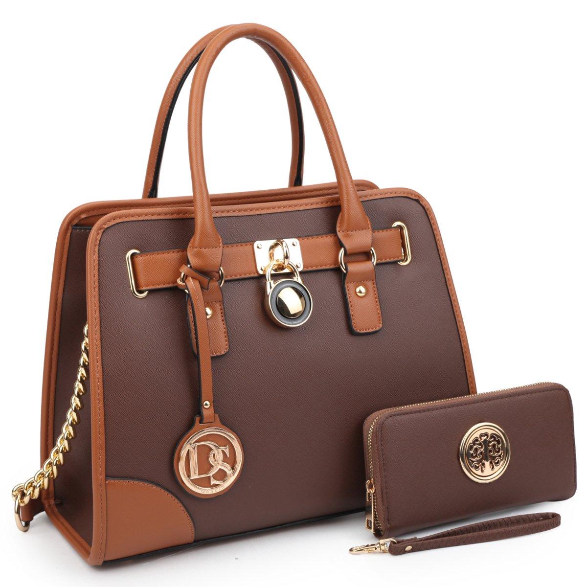 Dasein Women's Designer Padlock Belted Top Handle Satchel Handbag Purse Shoulder Bag With Wallet