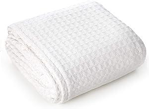 White Waffle Blanket Queen - Organic Cotton Waffle Blanket - Waffle Weave Blanket - Lightweight Cotton Blanket - Cotton Blanket Queen Size -Thermal Blanket(White, Blanket Throw (90 X 90))