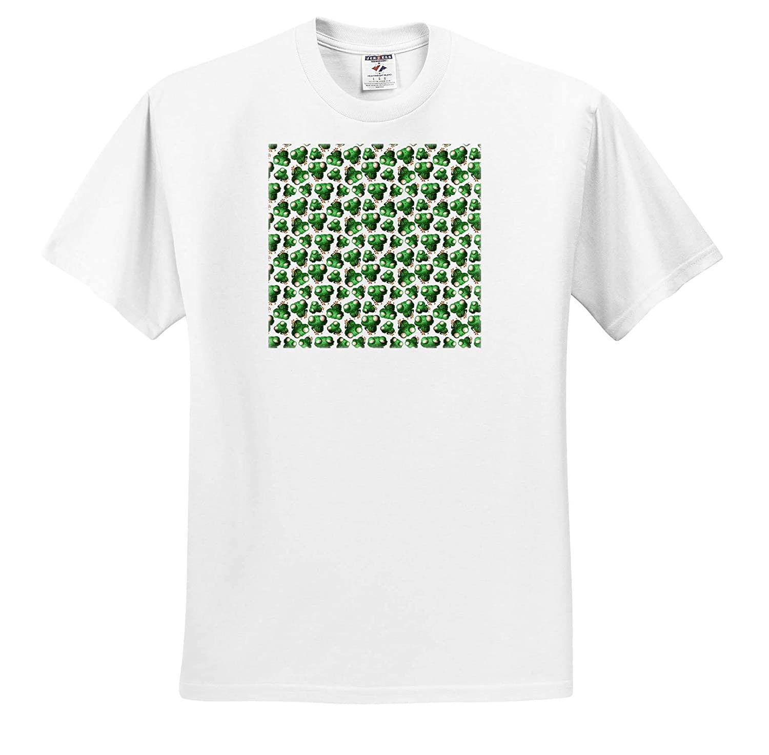 Pattern Frogs Decorative Pattern of Funny Green Frogs on White Background 3dRose Alexis Design T-Shirts