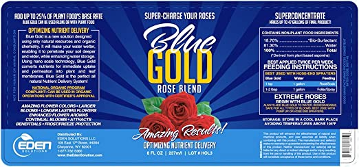 Blue Gold Rose Flower Bloom Booster Root Stimulator Triacontanol  Concentrate  Guaranteed Results  Natural Rose Pest Control, Fungicide,  Blight,