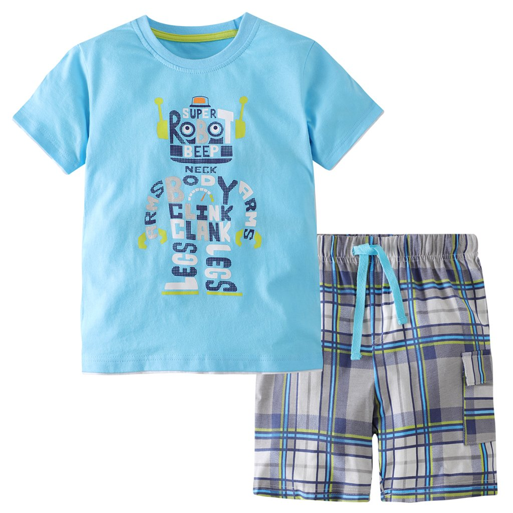 Hsctek Boys' Cotton Clothing Sets, Short Sleeve T-Shirt & Short Sets for Summer(Alphabetic Robot, 2T/2-3YRS) by Hsctek (Image #1)