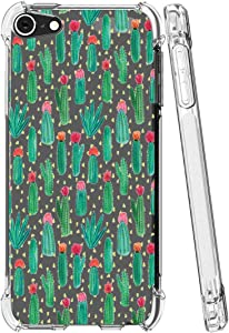 Topeiye Flowers Clear Slim Designed for iPod Touch 7 Case,iPod Touch 6 Case, Shock-Absorption Floral Flexible Soft TPU Protective Case Cover for Apple iPod Touch 5/6/7th Generation (Cactus)