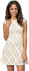 d6812901be Teeze Me Juniors Cap Sleeve Foil Plaid Knit Party Dress with V Back