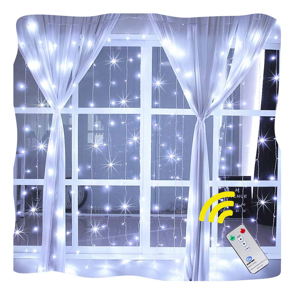 Ollny Window Curtain Light 192 LEDs Icicle Fairy String Christmas Lights for Bedroom Wedding Garden Patio Wall Outdoor Indoor Decoration Low Voltage with Remote Control(2m*2m Warm White) LEDT192CV