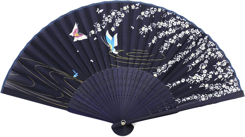 Ventilador plegable de madera perforada - flor de la tela de la impresión de la mariposa - azul: Amazon.es: Hogar
