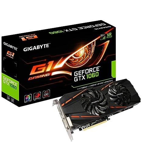 Gigabyte GeForce GTX 1060 G1 Gaming 6G (Rev. 2.0) GeForce GTX 1060 6GB GDDR5 - Tarjeta gráfica (NVIDIA, GeForce GTX 1060, 7680 x 4320 Pixeles, 1594 ...