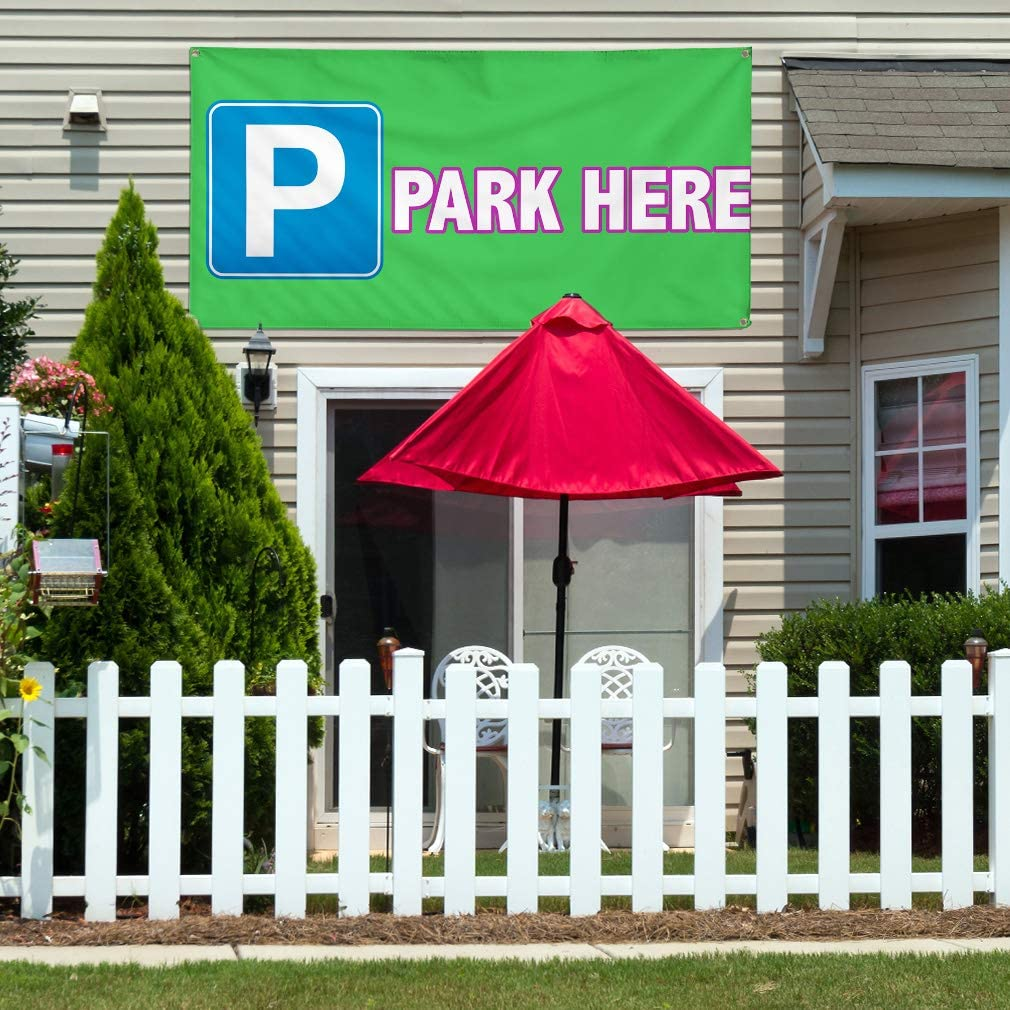 Vinyl Banner Multiple Sizes P Park Here Outdoor Advertising Printing Business Outdoor Weatherproof Industrial Yard Signs Green 10 Grommets 60x144Inches